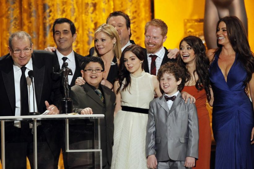 "O'Neill accepts award for outstanding ensemble for comedy series for ""Modern Family"" with fellow cast members at Screen Actors Guild Awards in Los Angeles"