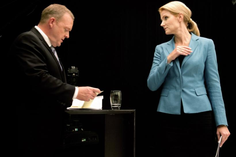 Rasmussen, Danish prime minister and leader of Liberal Party, and Thorning-Schmidt, leader of Social Democratic Party, are seen before debate in Copenhagen