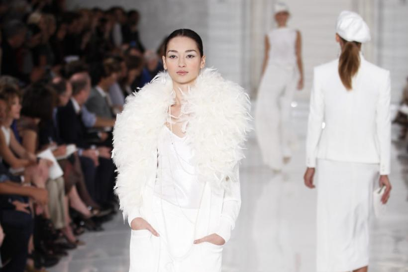 A model presents creations from the Ralph Lauren Spring/Summer 2012 collection during New York Fashion Week