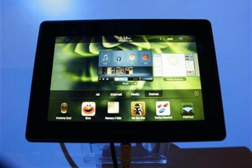 A new Blackberry tablet, the PlayBook tablet computer, is displayed at the GSMA Mobile World Congress in Barcelona