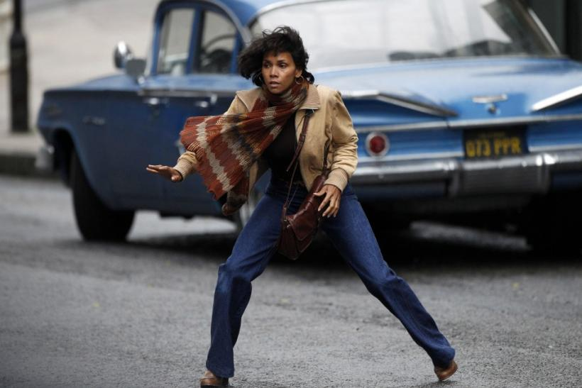 "Actress Halle Berry reacts to gunfire during filming of ""Cloud Atlas"" in Glasgow, Scotland"