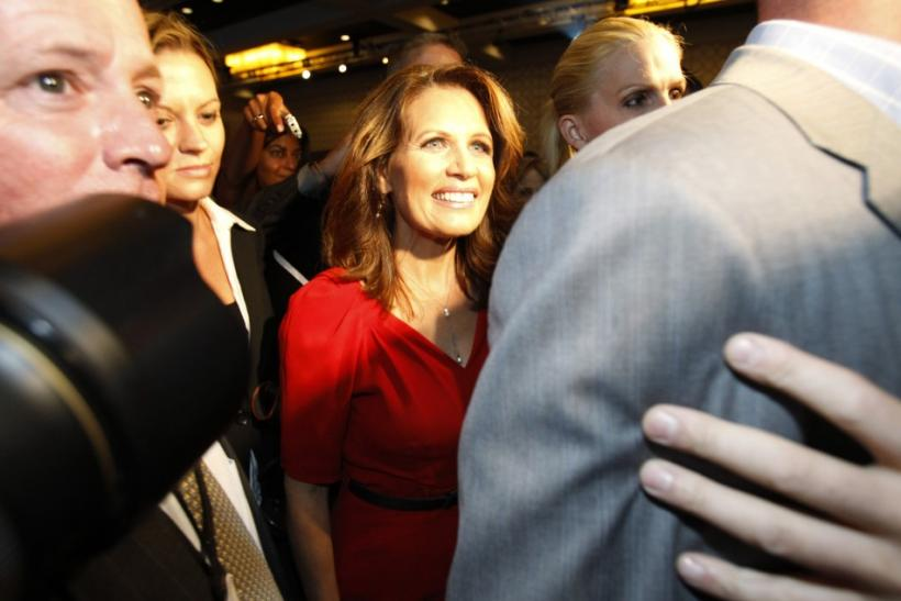 U.S. Republican presidential candidate, Rep. Michele Bachmann (R-MN), leaves after delivering her speech at the California Republican Party fall convention in Los Angeles