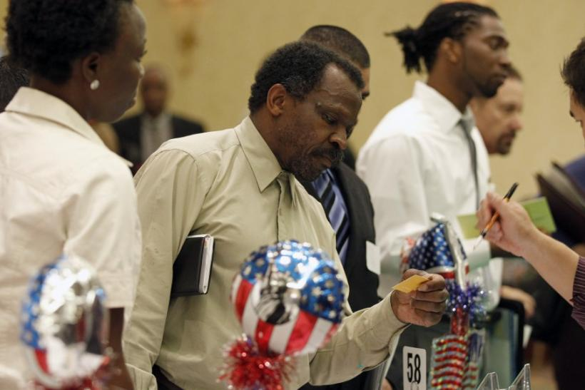 People attend a job fair for military veterans and other unemployed people in Los Angeles