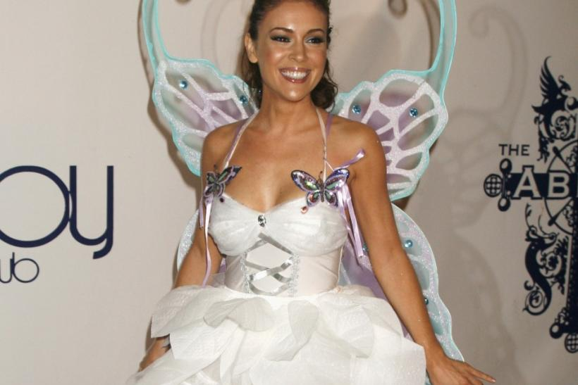 Actress Alyssa Milano arrives at the 7th annual Heidi Klum Halloween party in Los Angeles