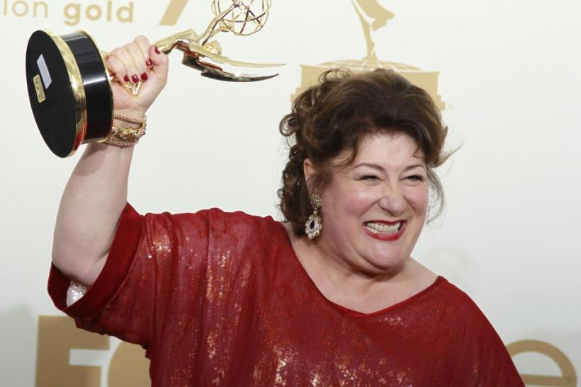 "Actress Margo Martindale holds her Emmy award for outstanding supporting actress in a drama series for ""Justified"" at the 63rd Primetime Emmy Awards in Los Angeles"