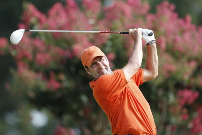 Spain's Jose Maria Olazabal tees off on the eighth hole during the second round of the 93rd PGA Championship golf tournament at the Atlanta Athletic Club in Johns Creek