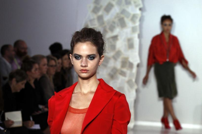A model presents a creation from the Kinder Aggugini 2012 Spring/Summer collection during London Fashion Week