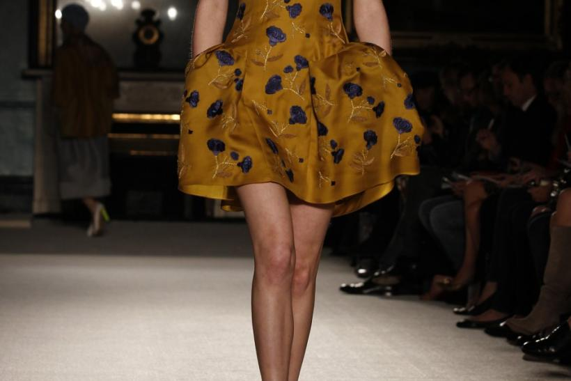 A model presents a creation from the Roksanda Ilincic 2012 Spring/Summer collection during London Fashion Week