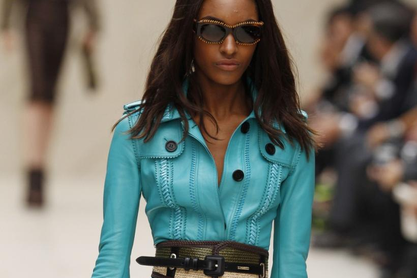 A model presents a creation from the Burberry Prorsum 2012 Spring/Summer collection during London Fashion Week