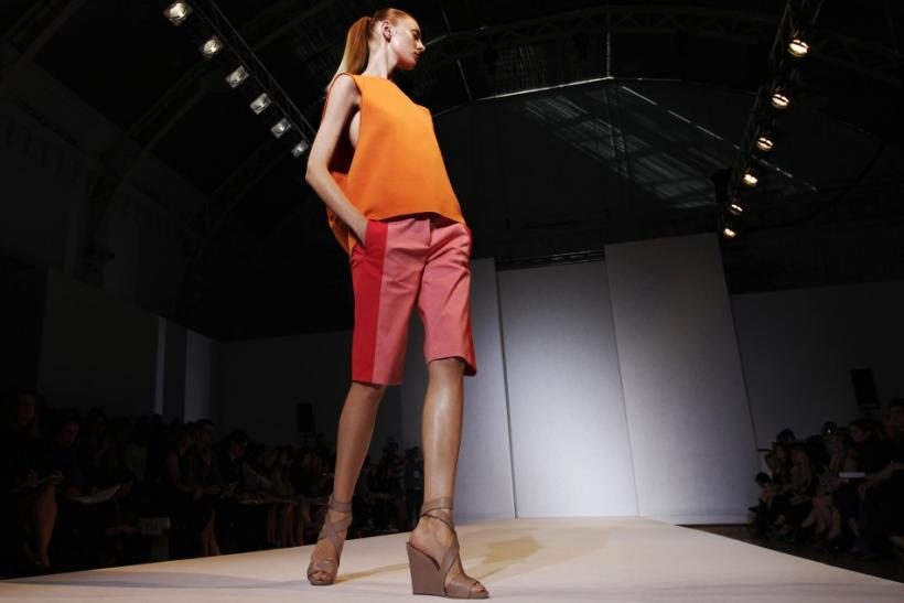 A model wears a creation by Nicole Farhi at her 2012 Spring/Summer collection show during London Fashion Week