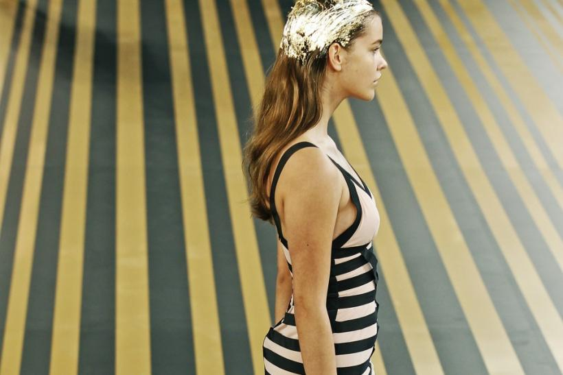 A model wears an outfit at the Topshop Unique 2012 Spring/Summer collection show during London Fashion Week