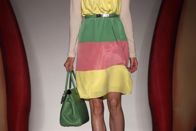 A model presents a creation from the Mulberry 2012 Spring/Summer collection during London Fashion Week