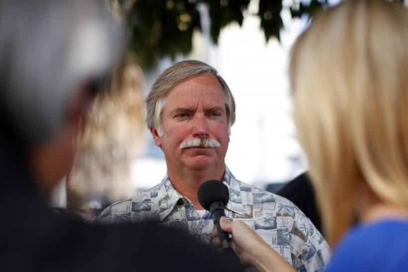 Ron, the father of Kelly Thomas, a 37-year-old homeless and schizophrenic who died in the custody of Fullerton county police, talks to a reporter outside the District Attorney's office in Santa Ana