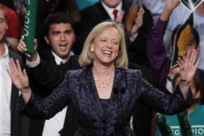 Meg Whitman gives her concession speech during her election night rally in Los Angeles