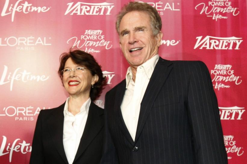 Actress and honoree Annette Bening and her husband actor Warren Beatty pose at the Variety's 3rd Annual Power of Women luncheon in Beverly Hills, California