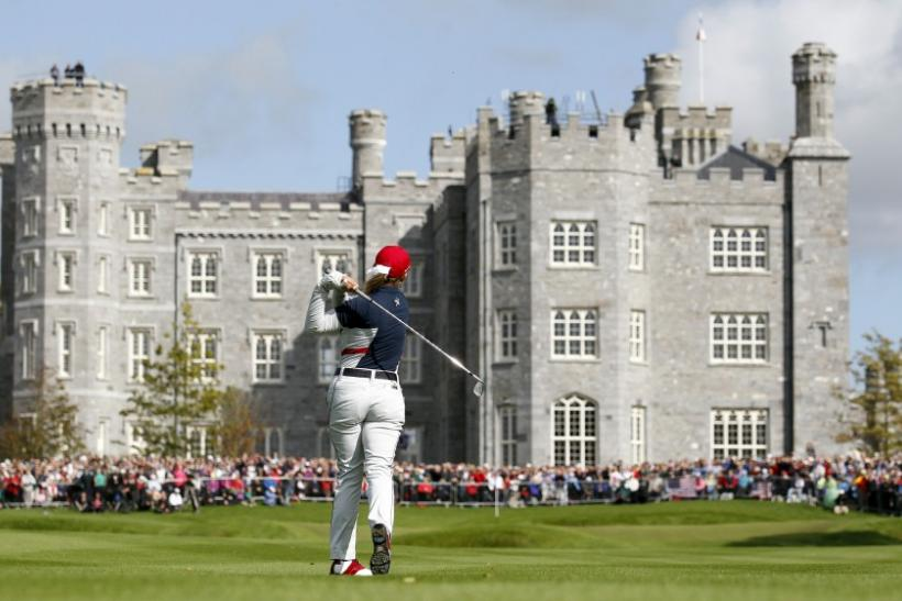Kerr plays her second shot on the 18th hole during the 2011 Solheim Cup golf tournament at Killeen Castle in Ireland