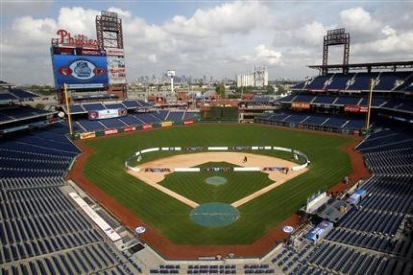 A makeshift ice hockey rink sits on the field at Citizens Bank ballpark before a news conference in Philadelphia, Pennsylvania, September 26, 2011. The NHL announced today the Philadelphia Flyers will host the New York Rangers in the 2012 Winter Classic h