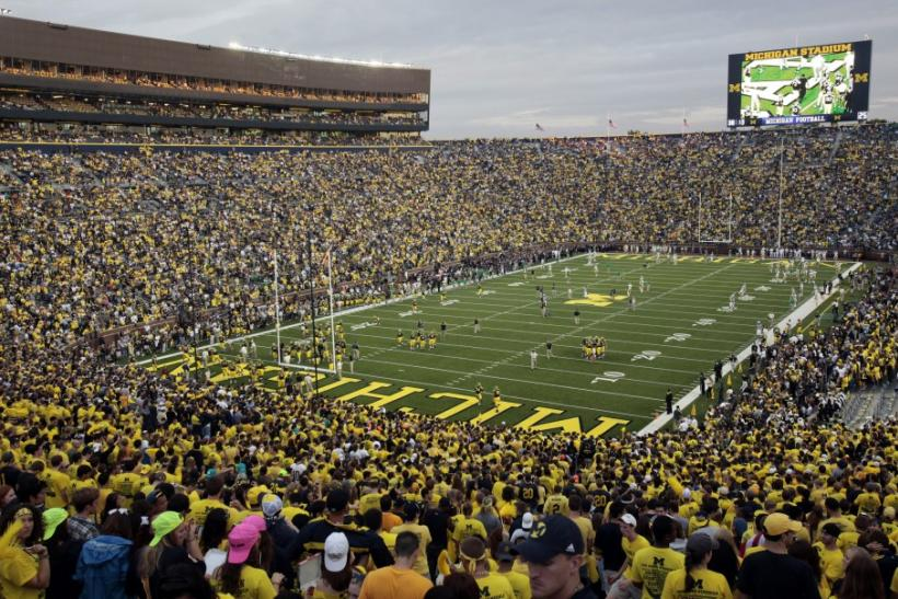 Michigan Stadium is seen before the start of the NCAA college football game between University of Michigan and Notre Dame in Ann Arbor.