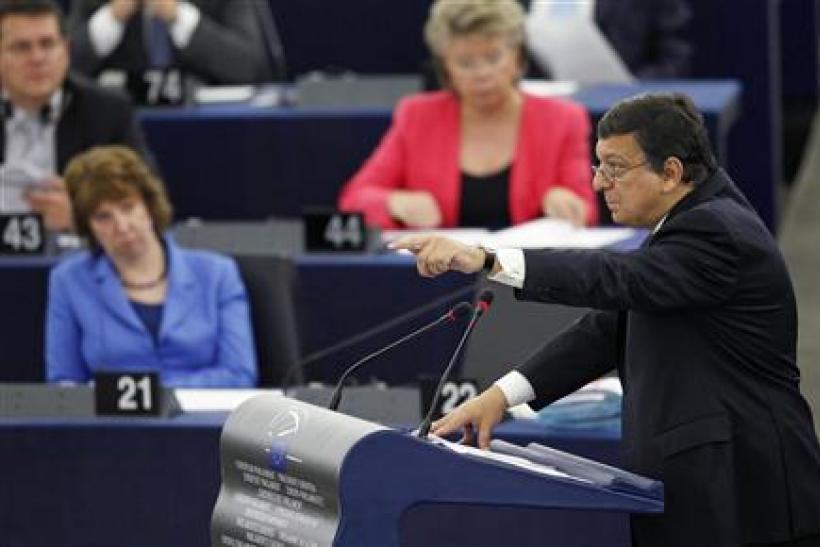 European Commission President Barroso addresses the European Parliament during a debate on the state of the EU in Strasbourg