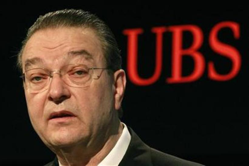 Gruebel, CEO of Swiss Bank UBS addresses a news conference to present the results for 2010 in Zurich