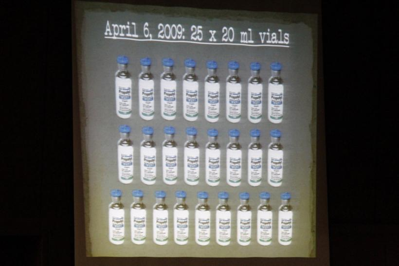 A slide projection of propofol is shown during the prosecution's opening argument in the Dr. Conrad Murray trial in the death of pop star Michael Jackson in Los Angeles