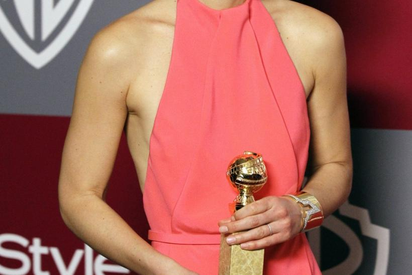 Actress Danes holds her award for best actress in miniseries or made for television movie at Warner Bros. and InStyle after-party for 68th annual Golden Globe Awards in Beverly Hills
