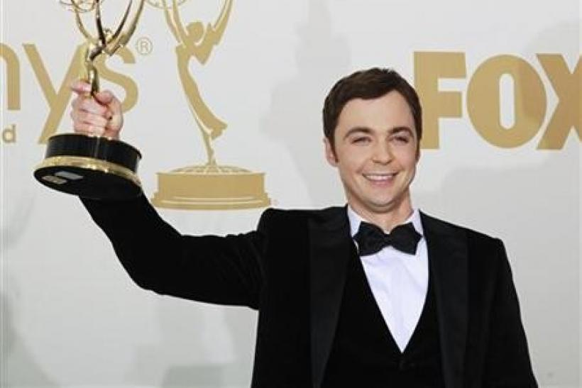 Actor Jim Parsons from ''The Big Bang Theory'' holds up his Emmy award for outstanding lead actor in a comedy series backstage at the 63rd Primetime Emmy Awards in Los Angeles