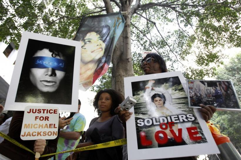 Michael Jackson supporters are shown outside the courthouse during Dr. Conrad Murray's trial in the death of Jackson in Los Angeles