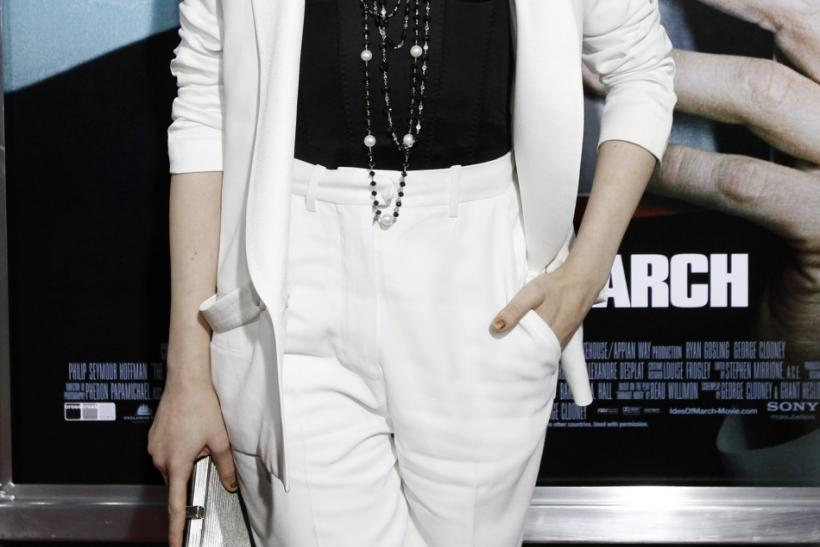 "Cast member Evan Rachel Wood poses at the premiere of ""The Ides of March"" at the Samuel Goldwyn theatre in Beverly Hills, California"