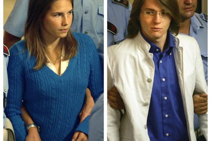 A combination photo shows Amanda Knox of the U.S. (L) and Italian national Raffaele Sollecito, suspects in the murder of British student Meredith Kercher last year, arriving with penitentiary police to a court hearing in Perugia