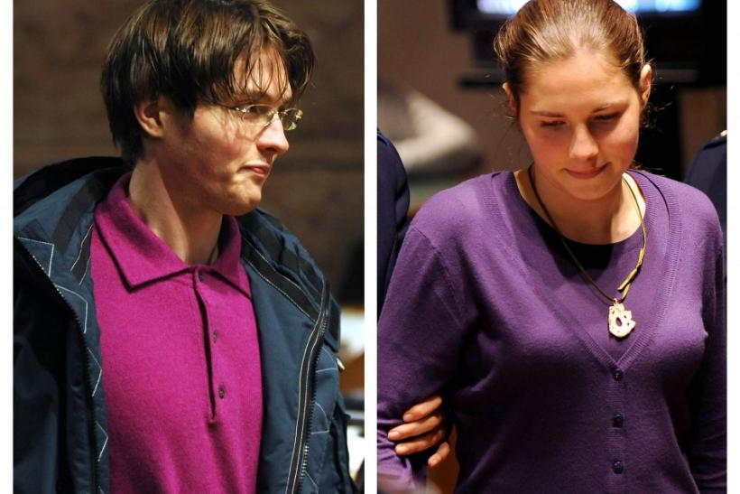A combination photo shows jailed murder suspects Raffaele Sollecito (L) and Amanda Knox entering a trial session in Perugia