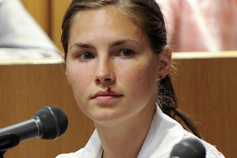 Jailed murder suspect Amanda Knox of the U.S. gives evidence at her trial for murder in Perugia