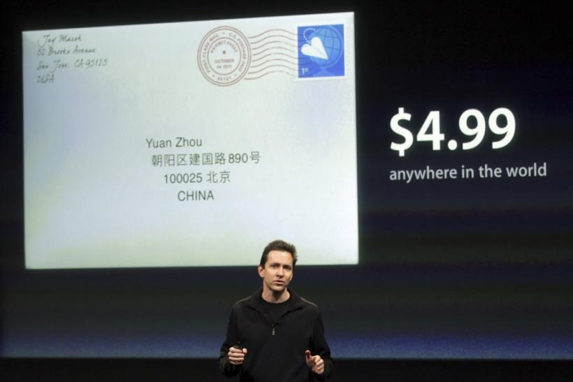 "Scott Forstall, senior vice president of iPhone Software at Apple, speaks about the new app ""Cards"" at Apple headquarters in Cupertino 04/10/2011"