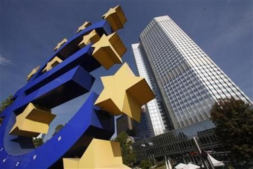 A huge Euro logo is pictured past the headquarters of the European Central Bank (ECB) in Frankfurt, September 29, 2011.