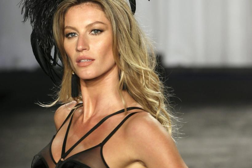 "Brazilian supermodel Gisele Bundchen displays a creation from the ""Gisele Bundchen Intimate"" collection by Hope Lingerie in Sao Paulo"