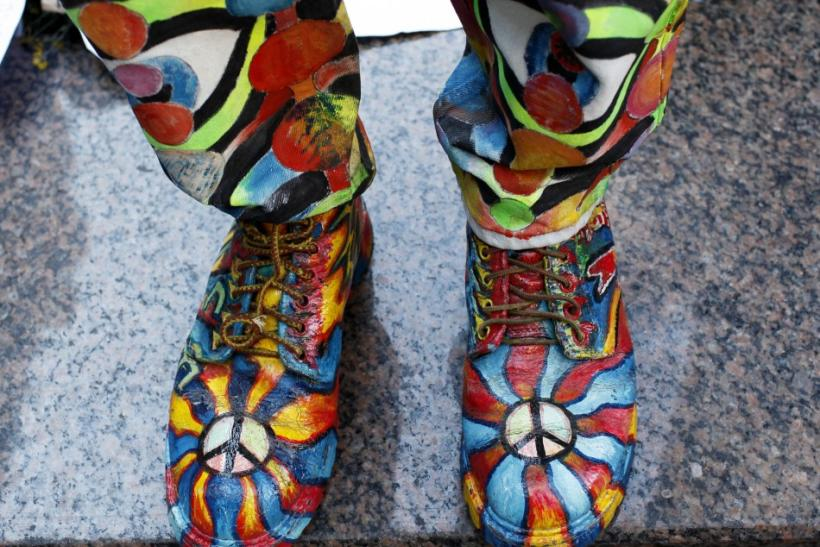 An Occupy Wall Street protester wears colored shoes and pants as he demonstrates in Foley Square in New York City