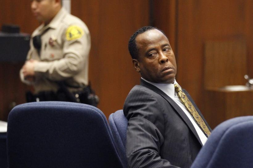 Dr. Conrad Murray looks toward the gallery during his trial in the death of pop star Michael Jackson in Los Angeles