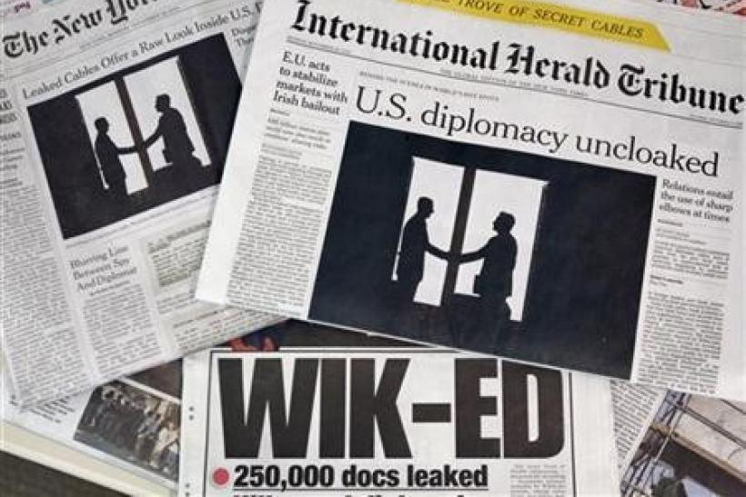 Newspaper fronts reporting on the documents released by the whistle-blowing website WikiLeaks are seen in New York, November 29, 2010.