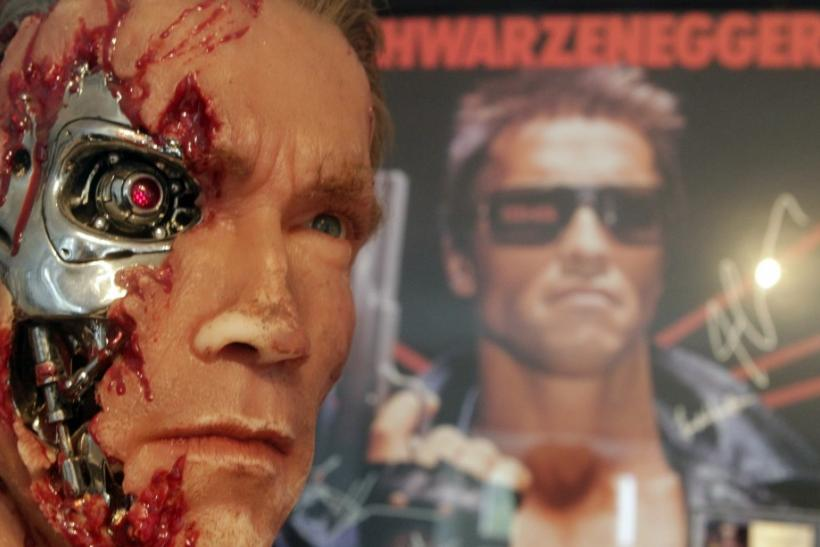 A figure from the movie 'The Terminator' is displayed inside the house where Austrian actor, former champion bodybuilder and former California governor Arnold Schwarzenegger was born, in the southern Austrian village of Thal