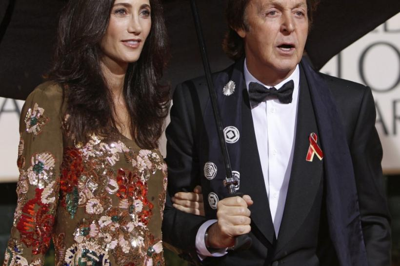 Former Beatle Paul McCartney and his girlfriend Nancy Shevell arrive at the 67th annual Golden Globe Awards in Beverly Hills, California