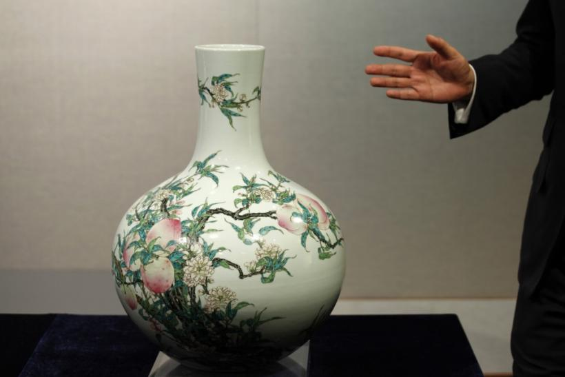 A peach vase is shown at Sotheby's preview in Hong Kong