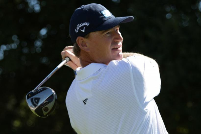 Ernie Els of South Africa hits his tee shot at the first hole during the third round of a PGA Tour golf tournament in San Martin, California