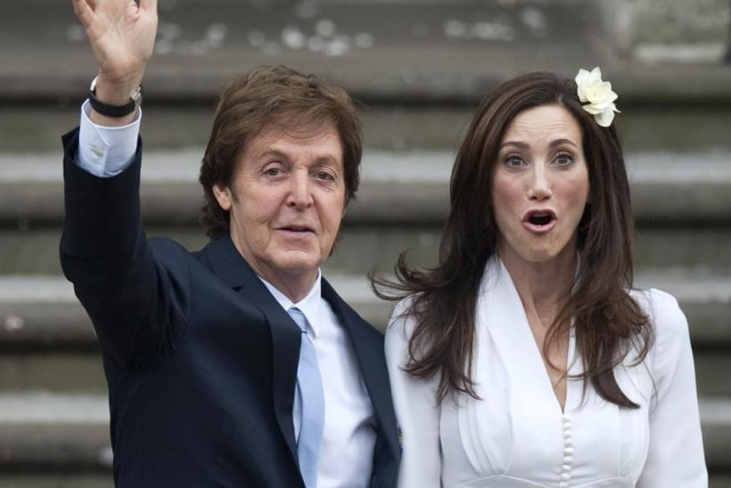 Singer Paul McCartney and his bride Nancy Shevell arrive for their marriage ceremony at Old Marylebone Town Hall in London