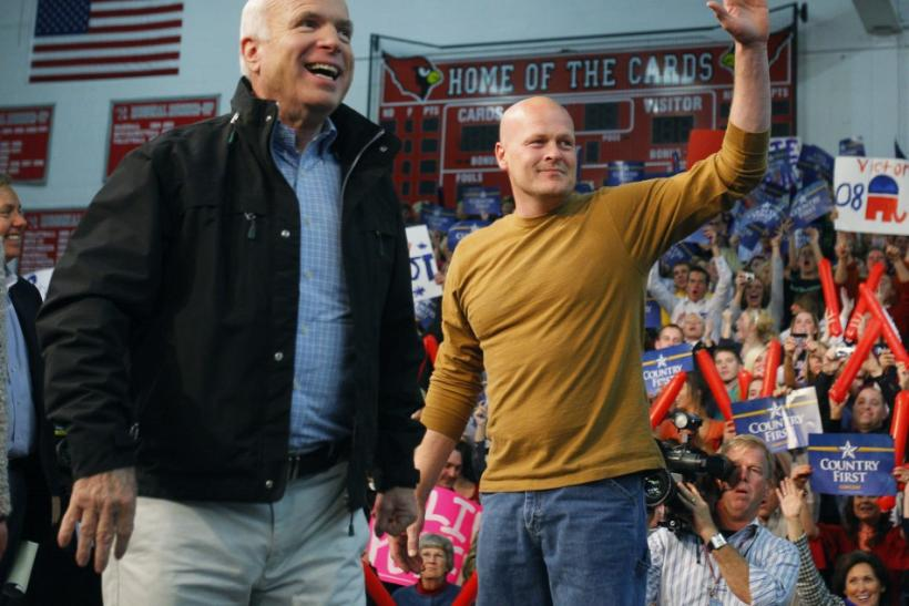 "U.S. Republican presidential nominee Senator John McCain is joined by ""Joe the Plumber"" at a campaign stop in Mentor"