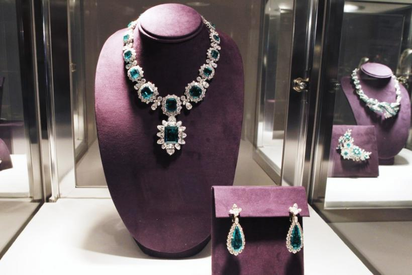 An emerald and diamond necklace by Bvlgari is pictured at the press preview for Christie's auction of The Collection of Elizabeth Taylor in Los Angeles