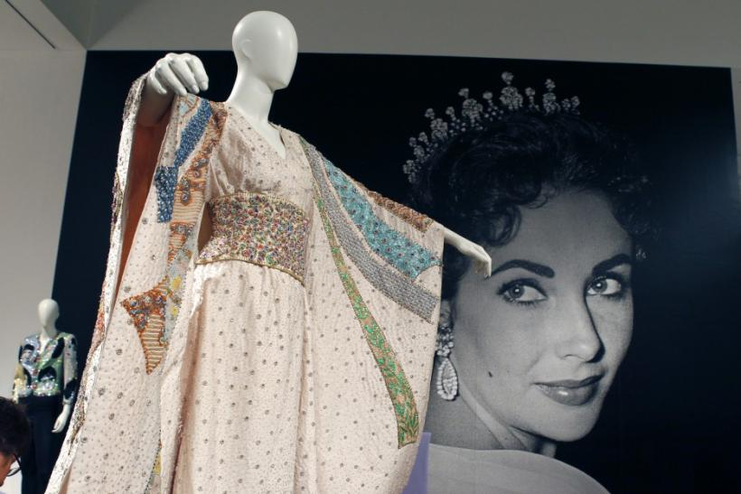 "A Tiziani kimono made for Elizabeth Taylor to wear as Flora ""Sissy"" Goforth in the 1968 film ""Boom!"" is pictured at the press preview for Christie's auction of The Collection of Elizabeth Taylor featuring her jewelry, haute couture, fa"
