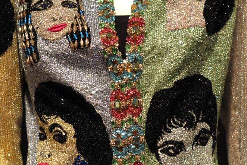 "A Versace beaded evening jacket ""The Face"" is pictured at the press preview for Christie's auction of The Collection of Elizabeth Taylor featuring her jewelry, haute couture, fashion, and fine arts at MOCA Pacific Desgin Center in Los Angeles"
