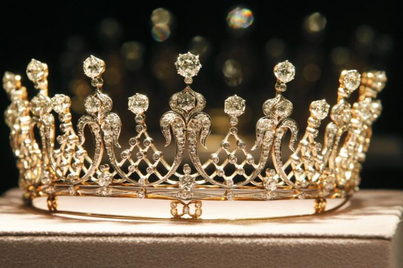 The Mike Todd antique diamond tiara is pictured at the press preview for Christie's auction of The Collection of Elizabeth Taylor featuring her jewelry, haute couture, fashion, and fine arts at MOCA Pacific Design Center in Los Angeles