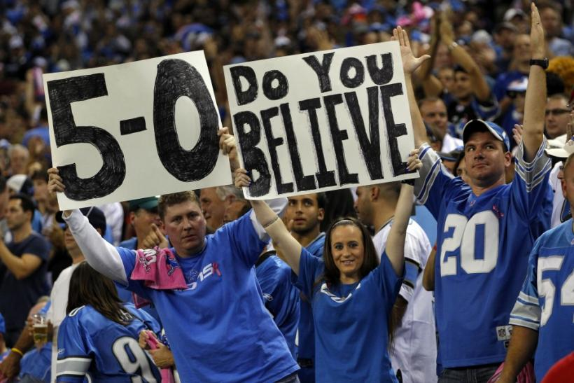 Detroit Lions fans after the Lions defeated the Chicago Bears 24-13 in their NFL football game in Detroit
