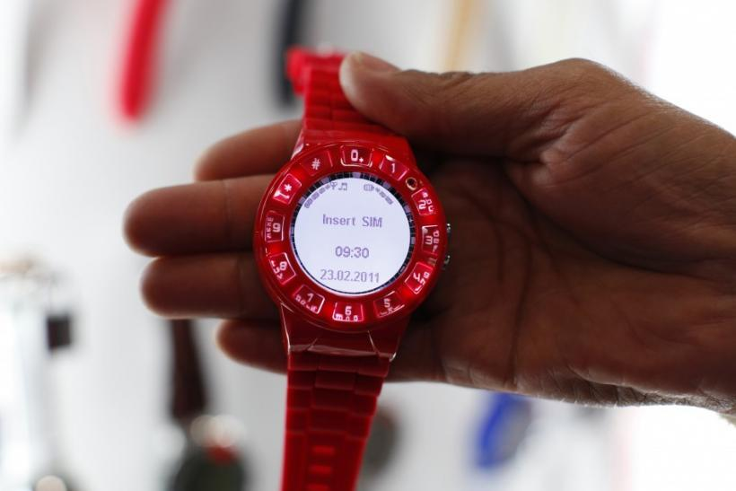 A watch phone by Burg is shown at the Cellular Telecommunications Industry Association (CTIA) Enterprise & Applications event in San Diego, California